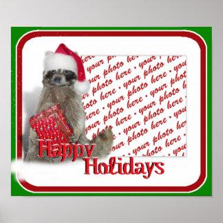 Christmas Bandit Raccoon Poster