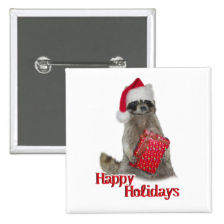 Christmas Bandit Raccoon with Present Button