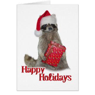 Christmas Bandit Raccoon with Present Card