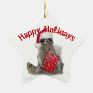 Christmas Bandit Raccoon with Present Ceramic Ornament