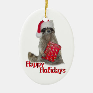 Christmas Bandit Raccoon with Present Ceramic Ornament