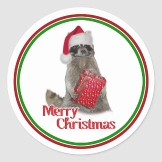 Christmas Bandit Raccoon with Present Classic Round Sticker