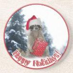 Christmas Bandit Raccoon with Present Drink Coasters