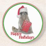 Christmas Bandit Raccoon with Present Beverage Coasters