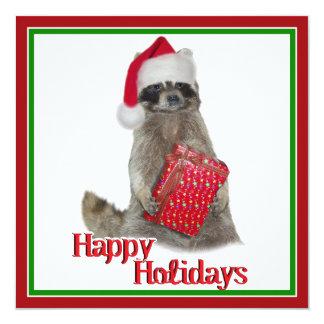 Christmas Bandit Raccoon with Present Custom Announcements