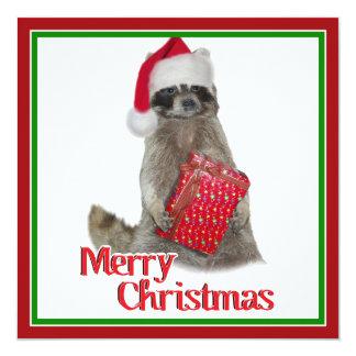 Christmas Bandit Raccoon with Present Custom Invites