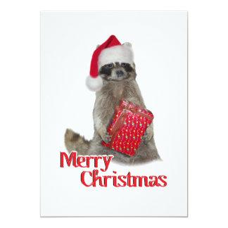 Christmas Bandit Raccoon with Present Invitations