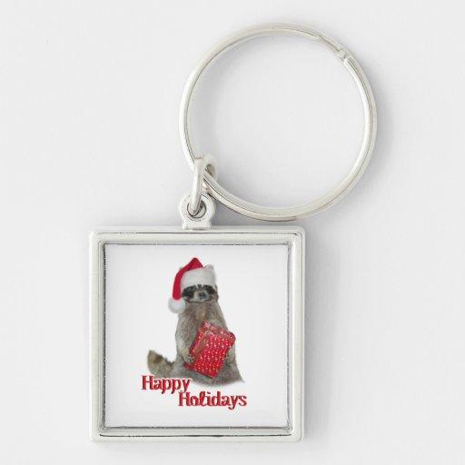 Christmas Bandit Raccoon with Present Keychains