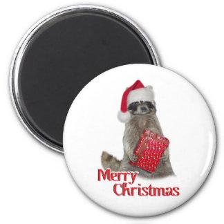 Christmas Bandit Raccoon with Present Magnet