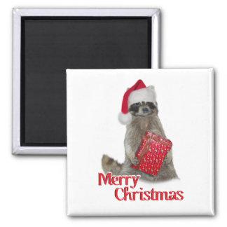 Christmas Bandit Raccoon with Present Magnets