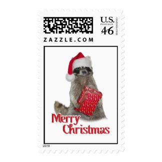 Christmas Bandit Raccoon with Present Postage