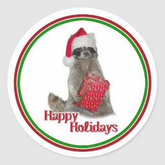 Christmas Bandit Raccoon with Present Round Sticker