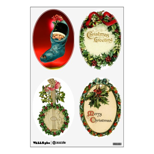 CHRISTMAS BANJO, CROWNS, MISTLETOES ,HOLLY BERRIES WALL DECAL