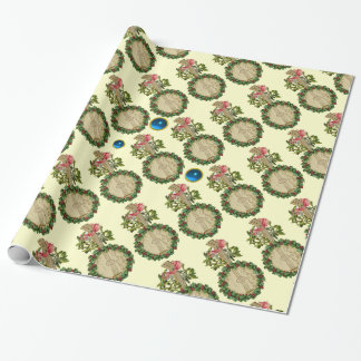 CHRISTMAS BANJO,MISTLETOES,HOLLY BERRIES,BLUE GEMS WRAPPING PAPER