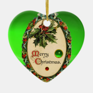 CHRISTMAS BANJO WITH MISTLETOES AND HOLLY BERRIES Double-Sided HEART CERAMIC CHRISTMAS ORNAMENT