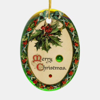 CHRISTMAS BANJO WITH MISTLETOES AND HOLLY BERRIES Double-Sided OVAL CERAMIC CHRISTMAS ORNAMENT