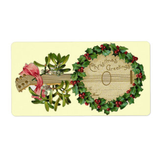 CHRISTMAS BANJO WITH MISTLETOES AND HOLLY BERRIES LABEL