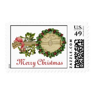 CHRISTMAS BANJO WITH MISTLETOES AND HOLLY BERRIES POSTAGE STAMP