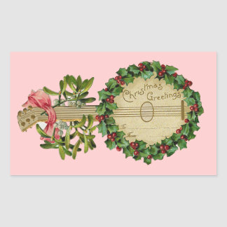 CHRISTMAS BANJO WITH MISTLETOES AND HOLLY BERRIES RECTANGULAR STICKER