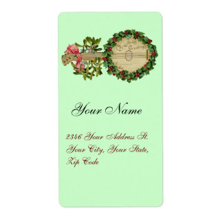CHRISTMAS BANJO WITH MISTLETOES AND HOLLY BERRIES SHIPPING LABEL