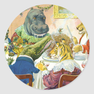 Christmas Banquet in Animal Land Classic Round Sticker