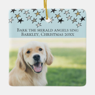 Christmas Bark The Herald Angels Sing Dog Themed Ceramic Ornament