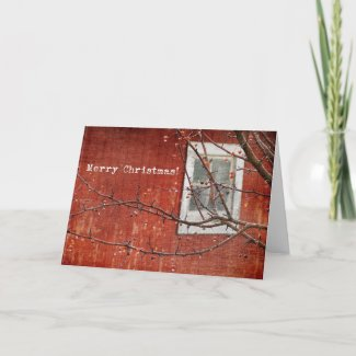 Christmas Barn and Tree card