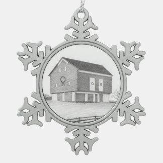 Christmas Barn Snowflake Ornament