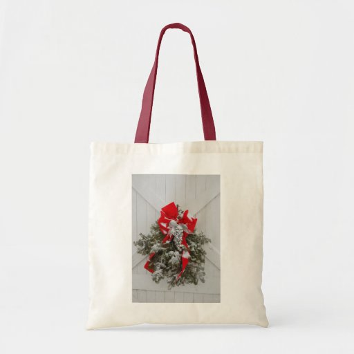 Christmas Barn Wreath Canvas Bag