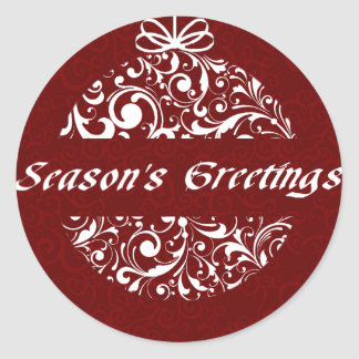 Christmas Baroque Ornamental in Red & White Classic Round Sticker