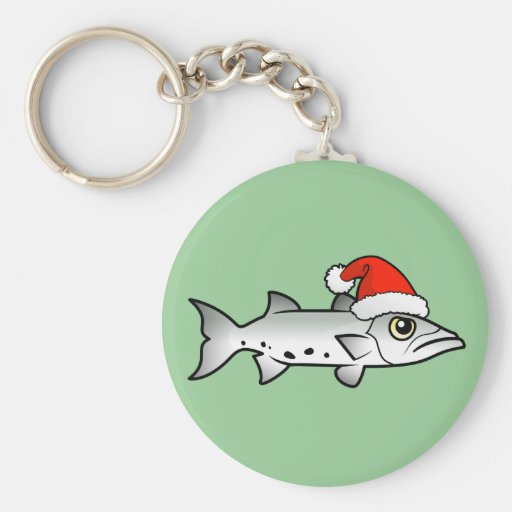 Christmas Barracuda Santa Basic Round Button Keychain