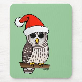 Christmas Barred Owl Santa Mouse Pad
