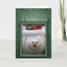 Christmas Baseball Card - Baseball with Christmas hat and holly. Customize your own message inside..