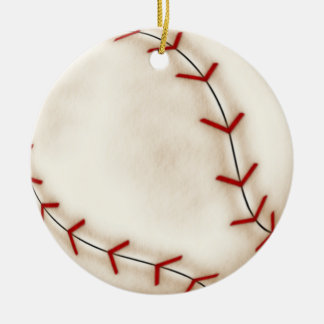 Christmas baseball ceramic ornament