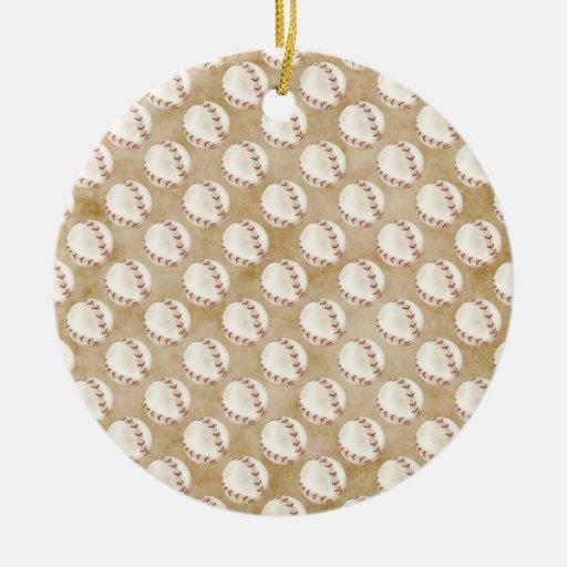 Christmas baseball Double-Sided ceramic round christmas ornament
