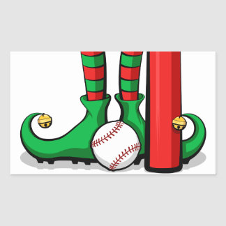 Christmas Baseball Elf Feet Rectangular Sticker