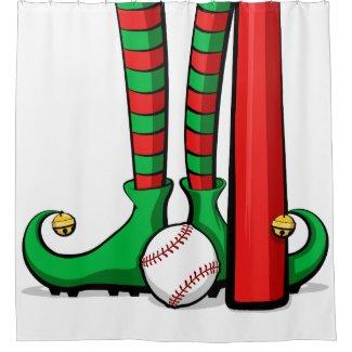 Christmas Baseball Elf Feet Shower Curtain