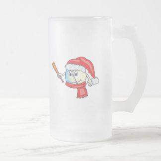 Christmas baseball in santa hat frosted glass beer mug