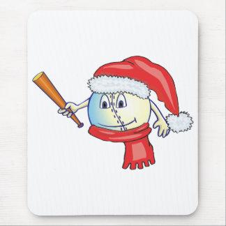 Christmas baseball in santa hat mouse pad