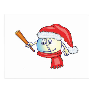 Christmas baseball in santa hat postcard