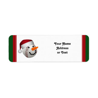 Christmas Baseball Snowman Return Address Label