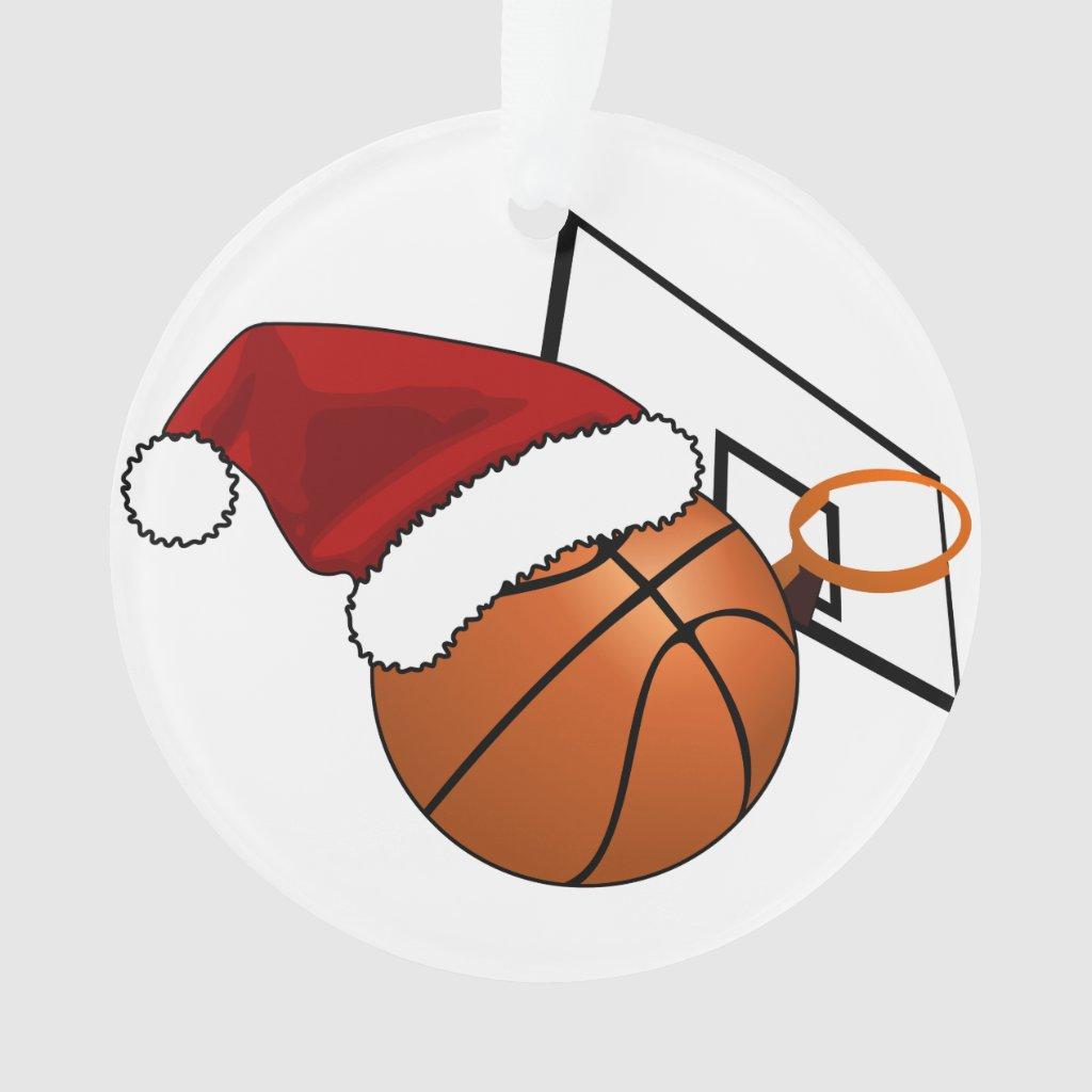 Christmas Basketball and Hoop Ornament