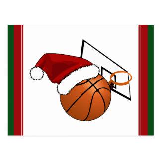 Christmas Basketball  and Hoop Postcard