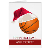 Christmas basketball Ball Santa Hat Greeting Cards