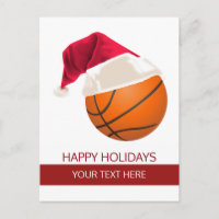 Christmas basketball Ball Santa Hat postCards