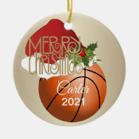 Christmas Basketball Ceramic Ornament