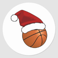Christmas Basketball Classic Round Sticker