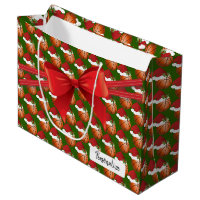 Christmas Basketball Pattern - Large Large Gift Bag