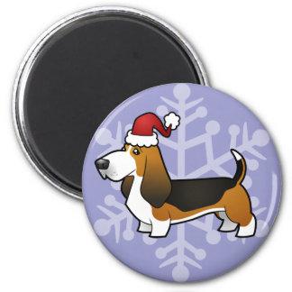 Christmas Basset Hound 2 Inch Round Magnet