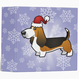 Christmas Basset Hound 3 Ring Binder